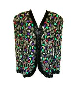 80s 100% Silk Frank Usher Heavily Beaded & Sequinned Multi Color Evening... - $53.00