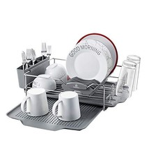 KINGRACK Stainless Steel Dish Drying Rack with Tray 4 PC Combo for Counter,2 Tie