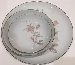LAURA Fine China of Japan 3 Piece Setting for 1 Pink Roses Platinum Trim... - $24.74