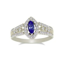 Nice Genuine Tanzanite And Cubic Zirconi 925 Silver Jewelry Ring Sz 6.5 ... - $31.37