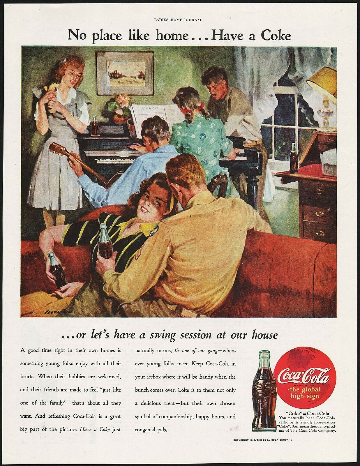 Primary image for Vintage magazine ad COCA COLA No Place Like Home from 1945 Leland Gustavson art