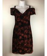 Vintage NightWay Dress 6 Red Black Metallic Floral Velvet Off Shoulder P... - $59.39