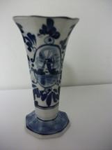 Royal Delft Handpainted Small Vase Pretty Dutch Scene - $10.99