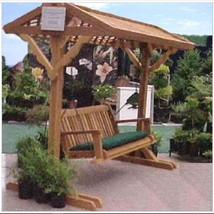 Freestanding Wooden Outdoor Swing with Stand & Roof for Yard or Patio - $1,849.00
