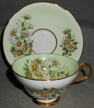 Fine Bone China STAFFORDSHIRE Cup and Saucers GREEN/WHITE DAISIES w/Gold... - $29.69
