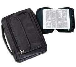 Holy Bible Cover Black Solid Genuine Leather Book Case Tote Bag Christian - $14.50
