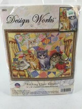 "Design Works Counted Cross Stitch Kit 14""X18"" ""Rocking Chair Kittens"" #2922 New - $18.69"