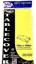 """54"""" x 108"""" Yellow Plastic Tablecloth Heavy Duty Disposable 8ft. Long - $7.99 CAD"""