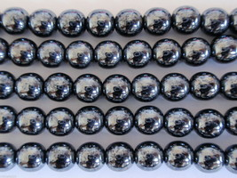 50 6mm Czech Glass Round Beads: Hematite - $2.01