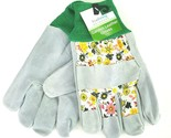 True Living Outdoor Garden Bovine Leather Gloves Lawn Yard Work Floral Print NWT