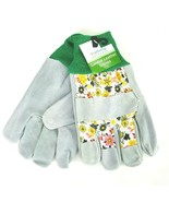 True Living Outdoor Garden Bovine Leather Gloves Lawn Yard Work Floral Print NWT - $9.49