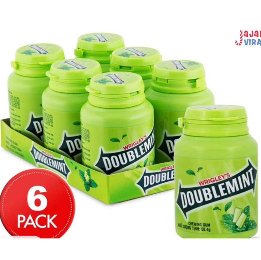 Primary image for 6 Bottle Wrigley Doublemint PEPPERMINT GUM Chewing Gum Original 58g [FAST SHIP]