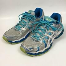 Asics Womens Gel Nimbus 16 Sz 12 Grey Blue Running Athletic Shoes T485N  - $30.89