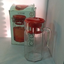 Lodge Circleware Glass Beverage Pitcher 50 oz Red Plastic Lid New - $21.99