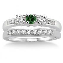 2CT Emerald & Sim Diamond Elegant Three Stone Trilogy Bridal set Silver 925 - $99.99