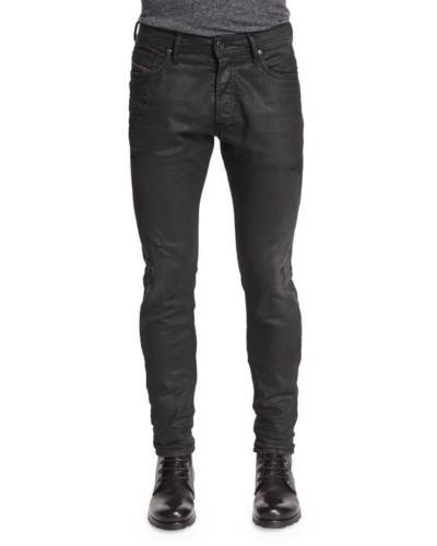NEW DIESEL MEN'S DESIGNER SLIM CARROT LEG TEPPHAR BLACK JEANS 0671E_STRETCH