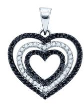 10k White Gold Round Black Color Enhanced Diamond Triple Nested Heart Pendant - $360.00
