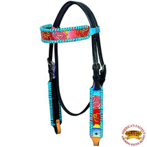 Western Horse Headstall Tack Bridle American Leather Hand Painted Rose U-7-HS - $59.99