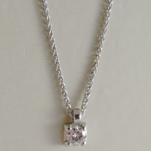 18K WHITE GOLD NECKLACE WITH DIAMOND 0.12 CARATS, EAR LINK CHAIN MADE IN ITALY image 1