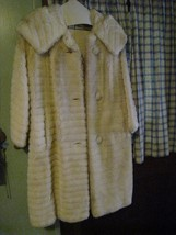 "vintage womens plush faux fur acrylic knee coat 40"" 1950s estate ILGWU u... - $29.67"