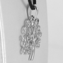 18K WHITE GOLD TREE OF LIFE PENDANT, CHARM, 0.95 INCHES, 24 mm, MADE IN ITALY image 2