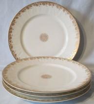 J. P. Limoges France Set of 4  Salad Plates Gold Floral Trim - $48.40
