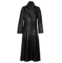 Mens Gothic Full Length Black Leather Military Genuine Real  Men Leather Log Coa