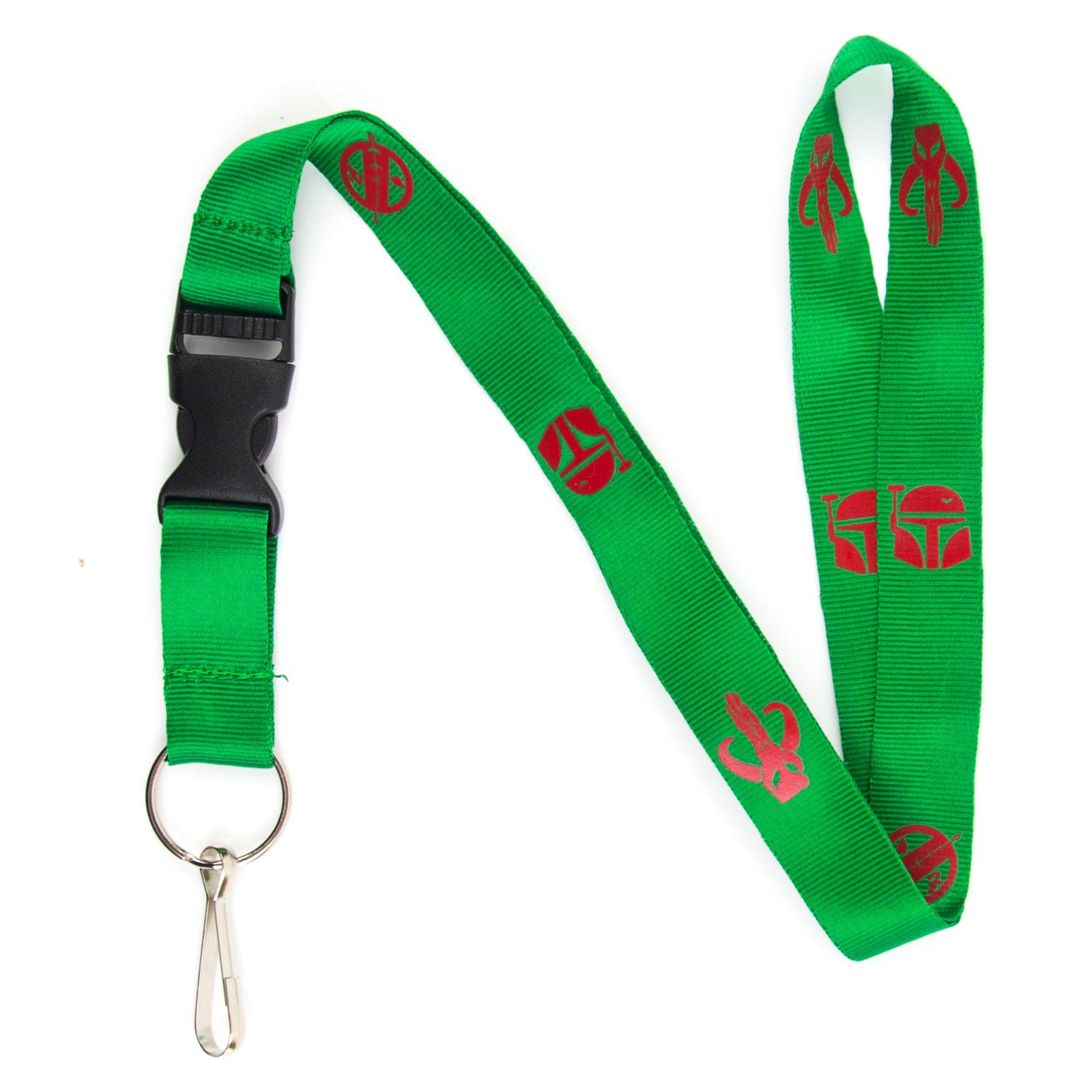 Boba Fett Mandalorian Crest Lanyard Keychain and ID Holder w/ Detachable, Breaka
