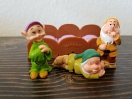 Disney Snow White Figures Figurines Dopey Sleepy  Sneezy With Bed Hard P... - $19.99