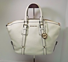 NWT MICHAEL Michael Kors White Bedford Leather Belted Medium Satchel Bag... - $248.00