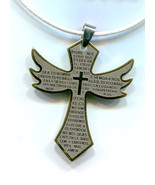 gold stainelss steel big cross necklace metal pendant white cord unisex ... - $5.99