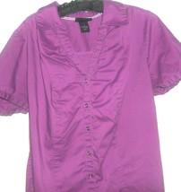 Women's Purple Button Down Top Size 16 Lane Bryant - $9.00