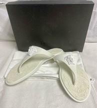 VERSACE White Flat Rubber Medusa Palazzo Thong Flip Flop Sandals Retails $350.00 - $174.99