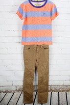 GAP KIDS / J. CREW Outfit Set Stripe T-Shirt & Brown Jeans Youth Boys' S... - $31.68
