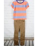 GAP KIDS / J. CREW Outfit Set Stripe T-Shirt & Brown Jeans Youth Boys' S... - $31.68