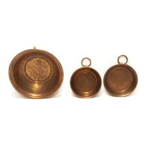 """Set of 3 Small Wall Decor Copper Mixing Bowl Pan 6"""" and 3.75"""" Diam. Vintage - $22.74"""