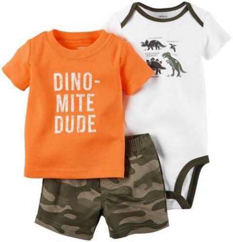 Carter's 3 Piece Set Boys Outfit  Set Orange Dinos, Olive, 9 Months NWT