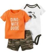 Carter's 3 Piece Set Boys Outfit  Set Orange Dinos, Olive, 9 Months NWT - $22.30
