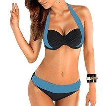 Windowpane Women Double Colored Padded Push Up Halter Bikini Bra Set Swimsuit (U