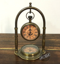 Valentine Table/Shelf Clock and Compass Brass Collectible Vintage Home or Ofi - $37.74