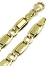 """18K YELLOW GOLD CHAIN GOURMETTE ALTERNATE FLAT PLATES  SQUARE LINKS 4.8 mm, 20"""" image 4"""