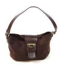 RALPH LAUREN Brown Suede & Embossed Faux Leather Shoulder Bag Satchel Pu... - $18.80
