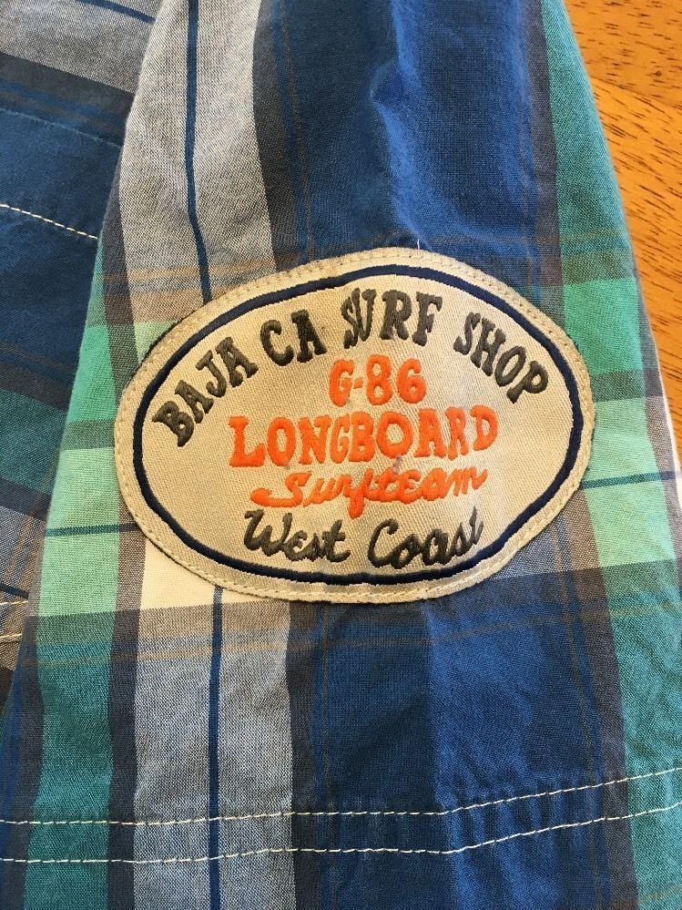 Gap Kids Boy's Blue, Green & White Plaid Short Sleeve Dress Shirt - Size: Medium image 11