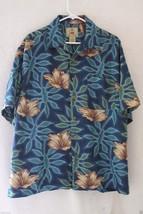 Joe Marlin Hawaiian Camp Shirt XLarge Multi Blues With Floral Pattern - $21.38