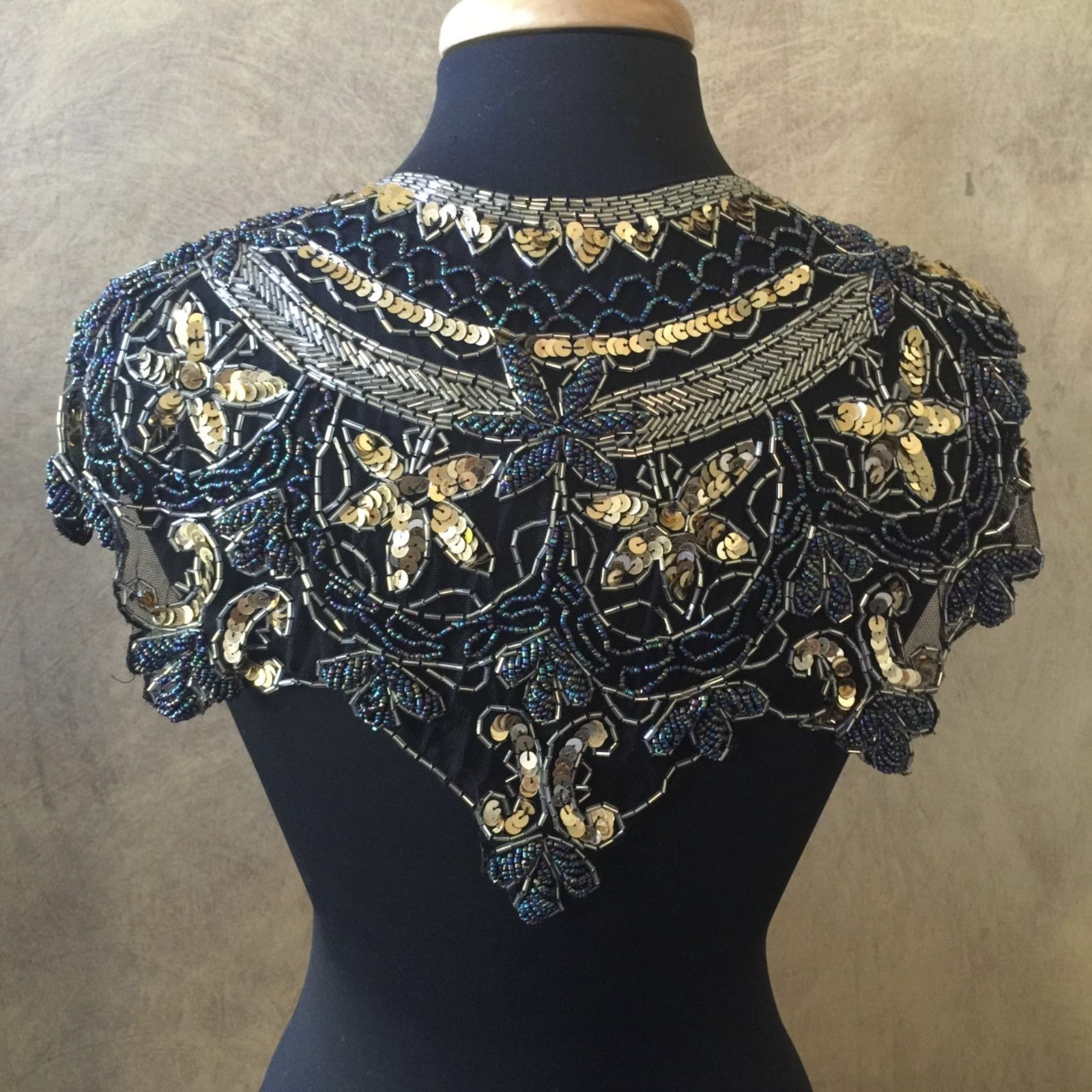 Primary image for Sequin Beaded Lace Hip Wrap Collar Shoulder Shrug Shawl Applique Peacock Gold