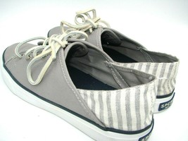 Sperry Women Shoes Top Sider Gray slip on Canvas Leather Size 6 Striped ... - $19.30
