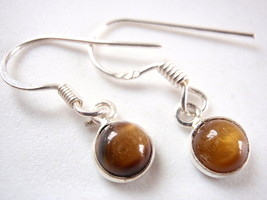 Small Tiger Eye 925 Sterling Silver Dangle Earrings round - $14.55