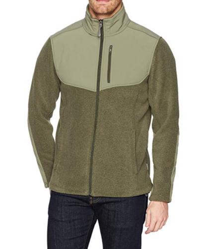 Large Men's White Sierra Sherpa Full Zip Fleece Jacket Dark Sage