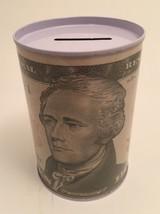 Tin Money Savings Piggy Bank with Alexander Hamilton $10 Bill Money Coin... - $6.52