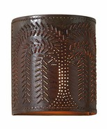 Countryside Single Candlestick Willow Pattern Light Wall Sconce in Rustic Tin - $47.95